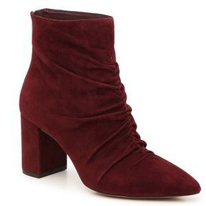 New 1. State Burgundy Suede Ruched Bootie